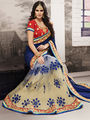 Viva N Diva Embroidered Georgette Net Blue, Grey & Beige Saree -19431-Rukmini-03