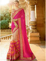 Viva N Diva Embroidered Satin Net Pink & Beige Saree -19477-Rukmini-04