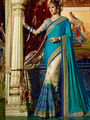 Viva N Diva Embroidered Satin Net Blue & Beige Saree -19478-Rukmini-04