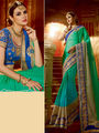 Viva N Diva Embroidered Chiffon Green Saree -19480-Rukmini-04