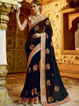 Viva N Diva Embroidered Georgette Black Saree -19487-Rukmini-04