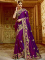 Viva N Diva Embroidered Satin Georgette Purple Saree -19494-Rukmini-04