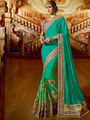 Viva N Diva  Embroidered Satin Georgette Green Saree -19498-Rukmini-04