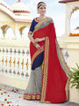 Indian Women Embroidered Chiffon Red and Blue Designer Saree -RA21068