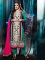 Adah Fashions Silk Embroidered Semi Stitched Dress Material - Green
