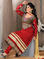 Adah Fashions Embroidered Net Brasso Semi Stitched Pakistani Suit - Red