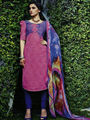 Arisha Enterprises Pure Cotton Embroidered Dress Material - Pink - ARA413