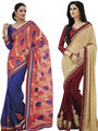 Pack of 2 Bahubali Embroidered Saree - CMB019