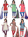 Combo Of 6 Thankar Printed Poly Cotton Unstitched Dress Material -ts02