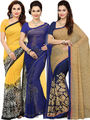 Combo of  3 Ishin Printed Faux Georgette Women's Sarees -is05