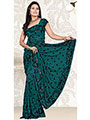Designer Sareez Embroidered Faux Georgette Saree - Teal-132