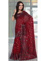 Designer Sareez Embroidered Faux Georgette Saree - Maroon-302