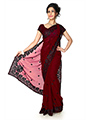 Embroidered Faux Georgette Saree - Maroon-1288