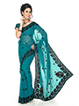 Embroidered Faux Georgette Saree - Teal