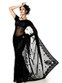 Embroidered Faux Georgette Saree - Black-1290