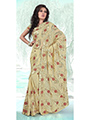 Embroidered Faux Georgette Saree - Buttery cream