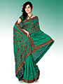 Embroidered Bhagalpuri Silk Saree - Bottle Green