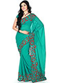 Designer Sareez Embroidered Faux Georgette Saree - Sea Green-1172