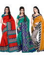 Pack of 3 Florence Printed Bhagalpuri Art Silk Printed Saree -fs09