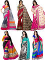 Pack of 6 Shonaya Printed Bhagalpuri Art Silk Saree-san01