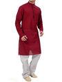 Ishin Cotton Plain Kurta Pajama For Men_indsh-101 - Red