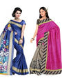 Pack of 2 Thankar Printed Bhagalpuri Saree -Tds137-221.222