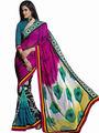 Triveni Faux Georgette Printed Saree - Multicolor - TS700018b