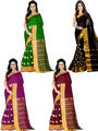 Combo of 4 Bhuwal Fashion Embellished Cotton Silk Designer Saree -bhl27